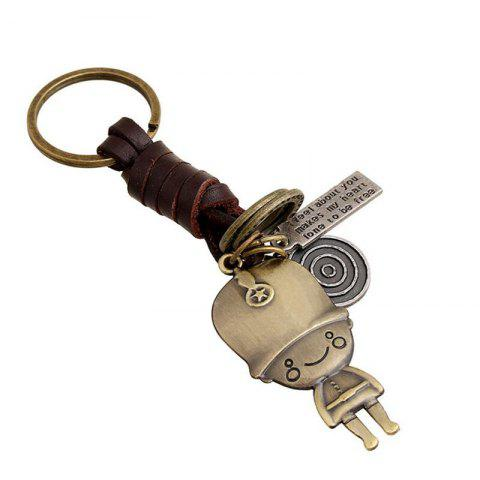 Online European and American Innovative Vintage Woven Leather Keychain