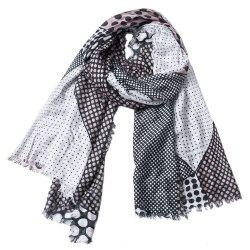 Women Dot Print Cotton Tassel Scarf Shawl -