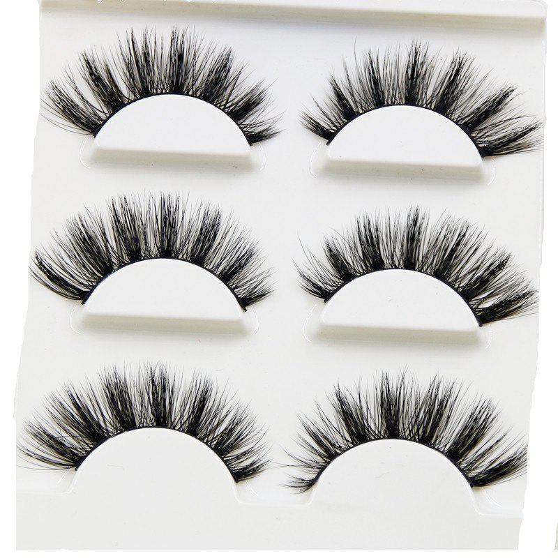 Store 100% Handmade Real Mink Fur False Eyelash 3D Strip Mink Lashes 3PCS