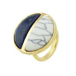 Gold Color with Circular Black and White Stone Ring -