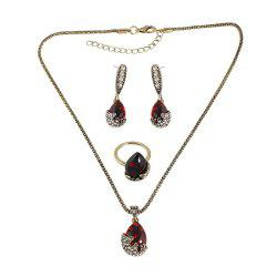 Red Stone Rhinestone Water Drop Pendant Necklace Earring and Finger Ring -