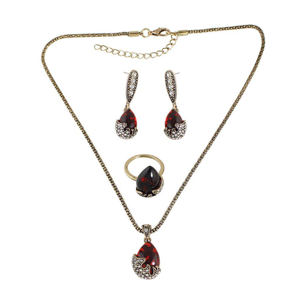Shop Red Stone Rhinestone Water Drop Pendant Necklace Earring and Finger Ring