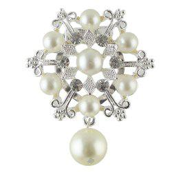 Luxury Jewelry Imitation-pearl and Rhinestone Snowflake Brooch -