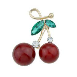 Red Cherry Brooches with Green Crystal for Lady and Girl -