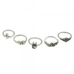 10pcs Vintage Turkish Elephant Flower Water Drop Knuckle Ring -