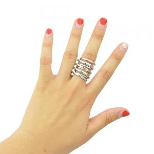 Minimalism Texture Multilayered Female Ring -