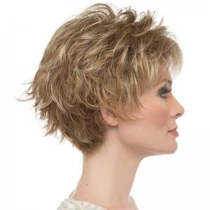 Golden Fluffy Slim Face Short Wig -