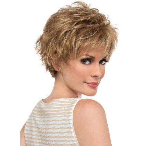 Trendy Golden Fluffy Slim Face Short Wig