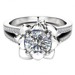 New Copper Plated Cubic Flower Zircon Couple Ring -