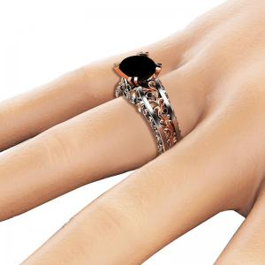 Lady Carved Large Gemstone Plated 14k Separation Ring -