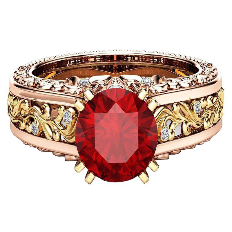 Hot Lady Carved Large Gemstone Plated 14k Separation Ring