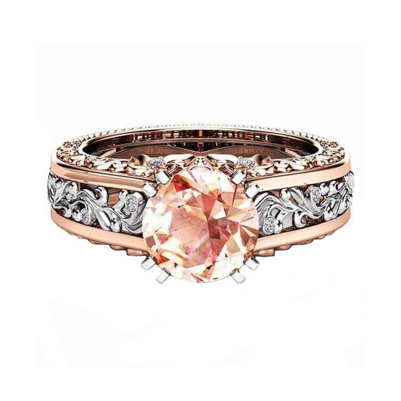 Trendy Lady Carved Large Gemstone Plated 14k Separation Ring