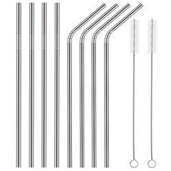 AEOFUN Stainless Steel Straws Reusable with Cleaning Brushes 10PCS / Set -