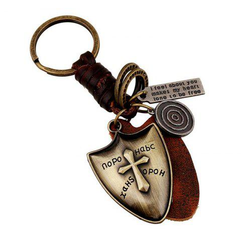 Cheap European and American Retro Atmosphere Cowhide Keychain