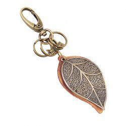 European and American Retro Punk Bronze Large Leaf Leather Keychain -