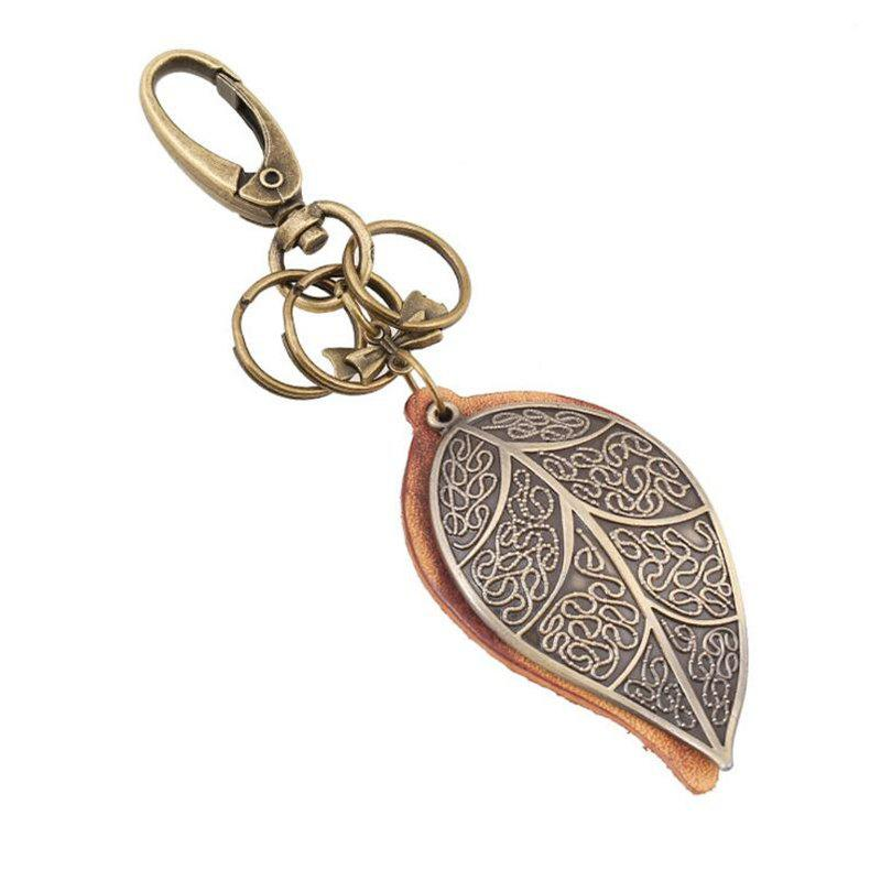 New European and American Retro Punk Bronze Large Leaf Leather Keychain