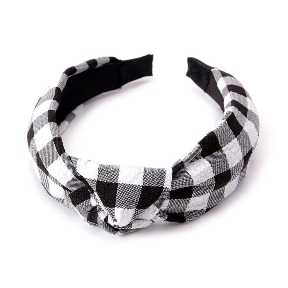 Chic Fashion Students Cross Knot Small Grid Hoops Hairband