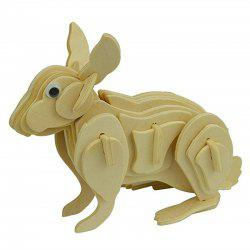 3D Rabbit Wooden Animal Puzzle Toy -
