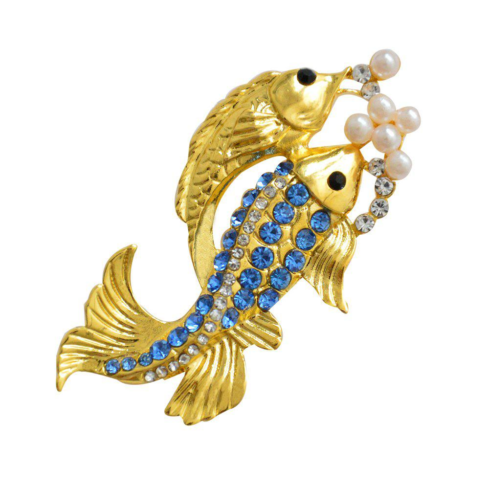 Outfits Cute Blue Crystal Fish Brooch Women's Animal Goldfish Valentine's Day Gift
