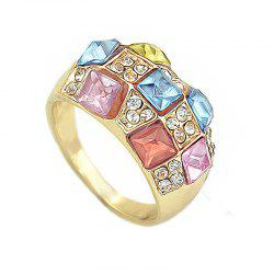 Fashion Colorful Gemstones Full Drilled Female Ring -