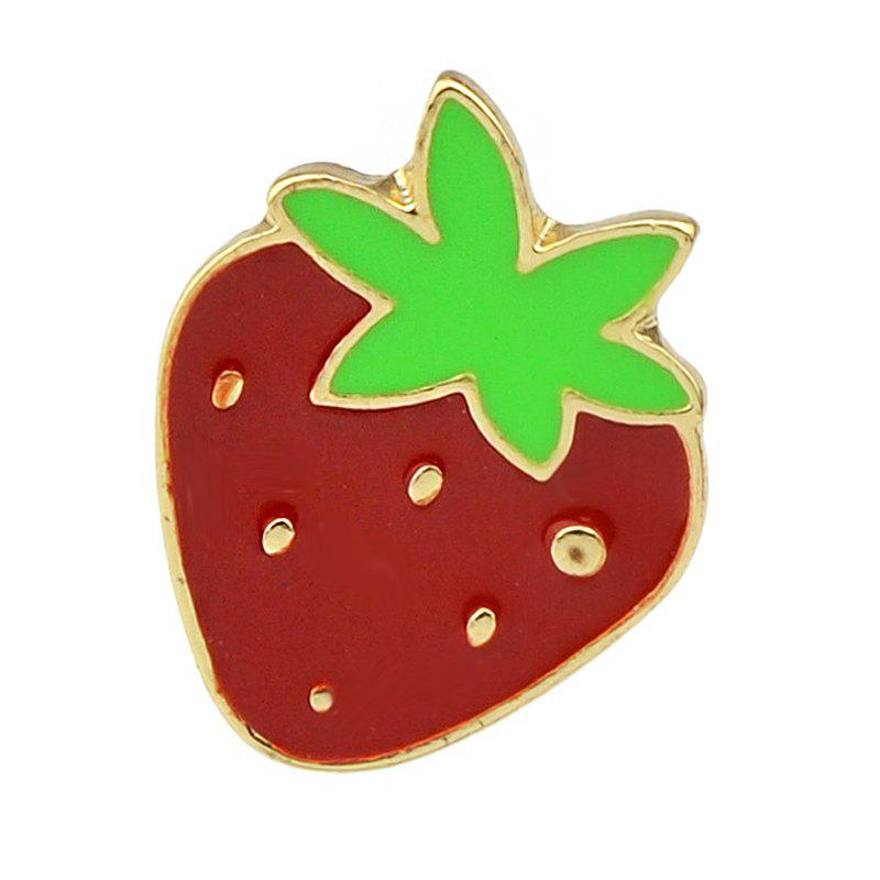 Cheap Gold-color with Green Red Strawberry Shape Brooch Pins