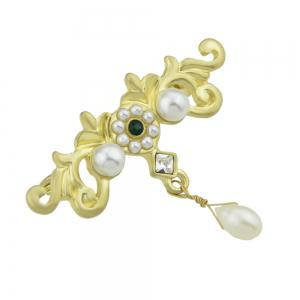 Simulated-pearl Gold Flower Shape Brooch Pin -