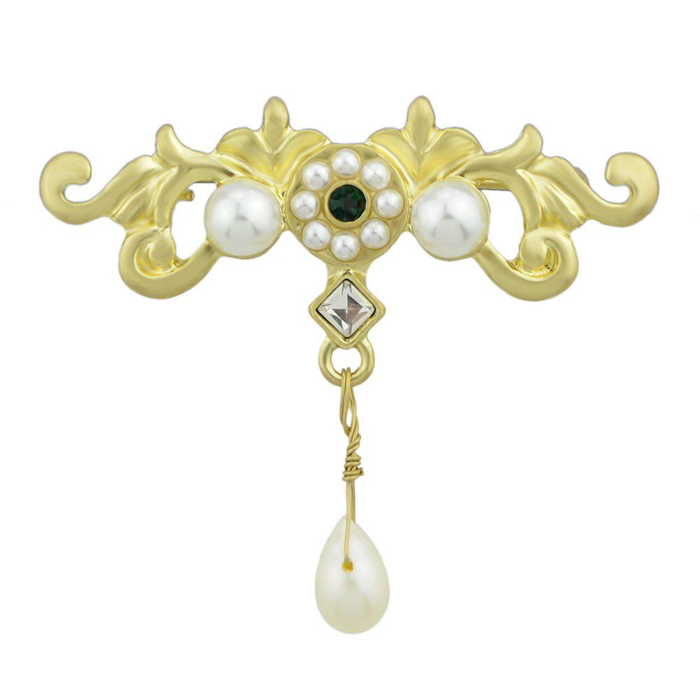 Outfit Simulated-pearl Gold Flower Shape Brooch Pin
