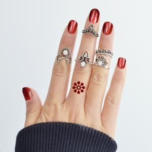 5pcs Silver Color Beads Flower Knuckle Finger Rings -