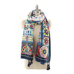 Geometric Pattern Fashion Tassel Cotton Linen Scarf -