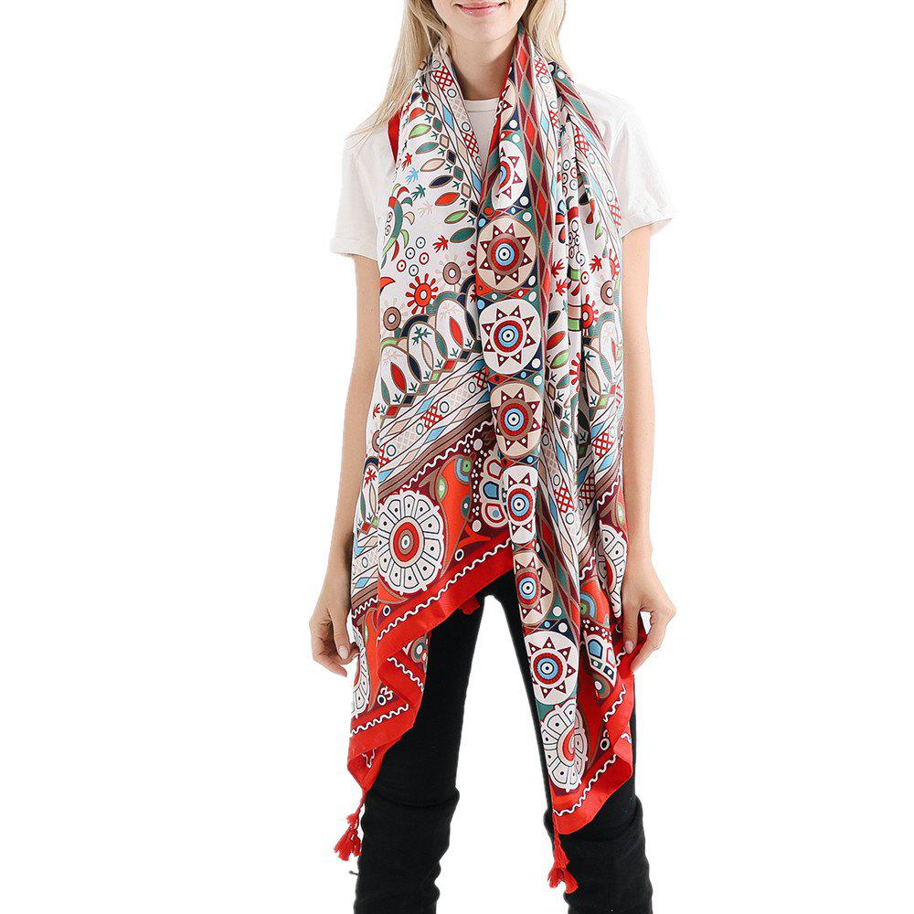 Outfit Geometric Pattern Fashion Tassel Cotton Linen Scarf