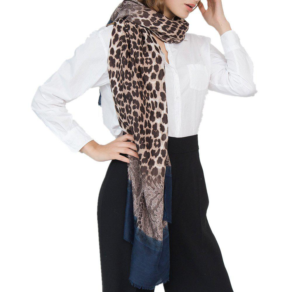 Buy Leopard Pattern Cotton and Linen Scarf