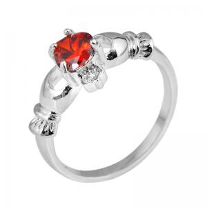 Holding Heart Shaped Color Gemstone Crystal Ring -