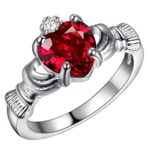 Hot Holding Heart Shaped Color Gemstone Crystal Ring
