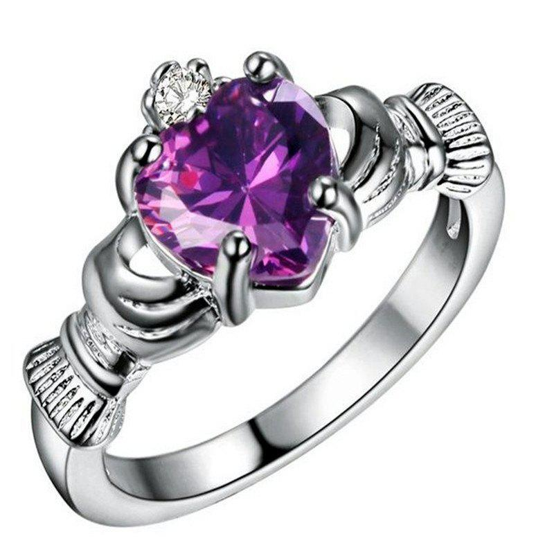 Affordable Holding Heart Shaped Color Gemstone Crystal Ring
