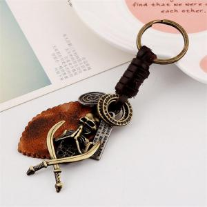 European and American New Retro Woven Men'S Leather Keychain -