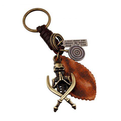 Trendy European and American New Retro Woven Men'S Leather Keychain