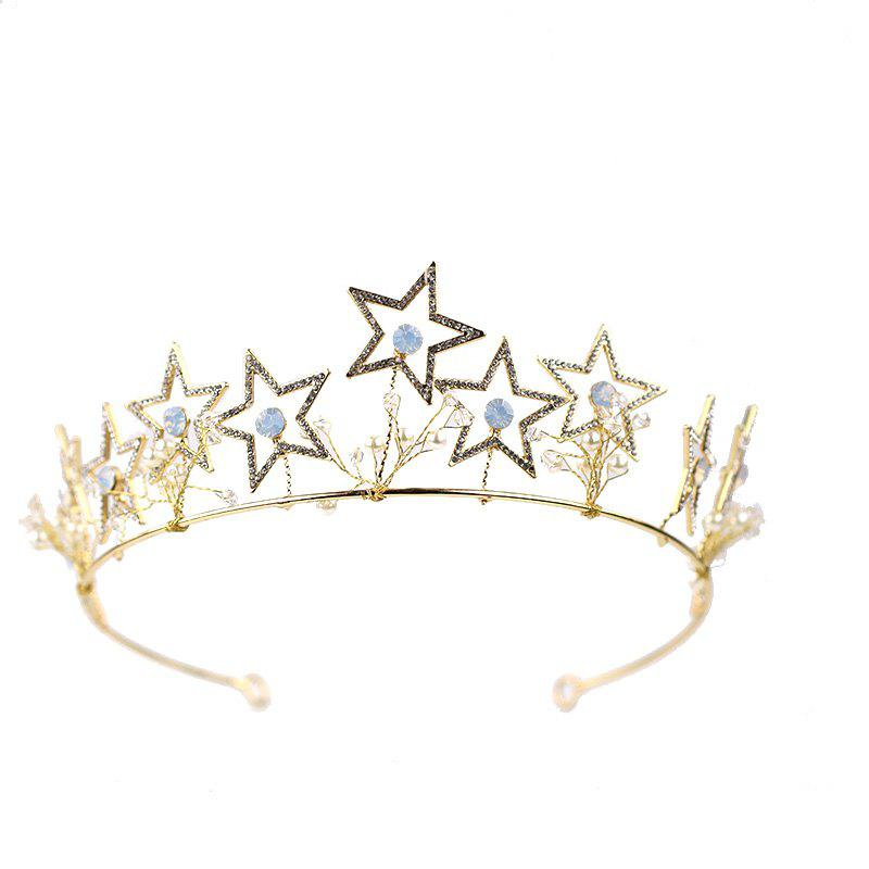 Unique Bride Accessory Gold Star Crown Hair Band