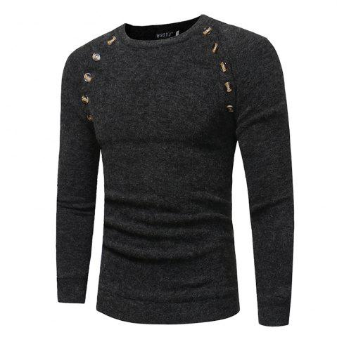 Store Men's New Fashion Button Stitching Solid Color Long-sleeved Knit Sweater