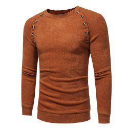 Men's New Fashion Button Stitching Solid Color Long-sleeved Knit Sweater -