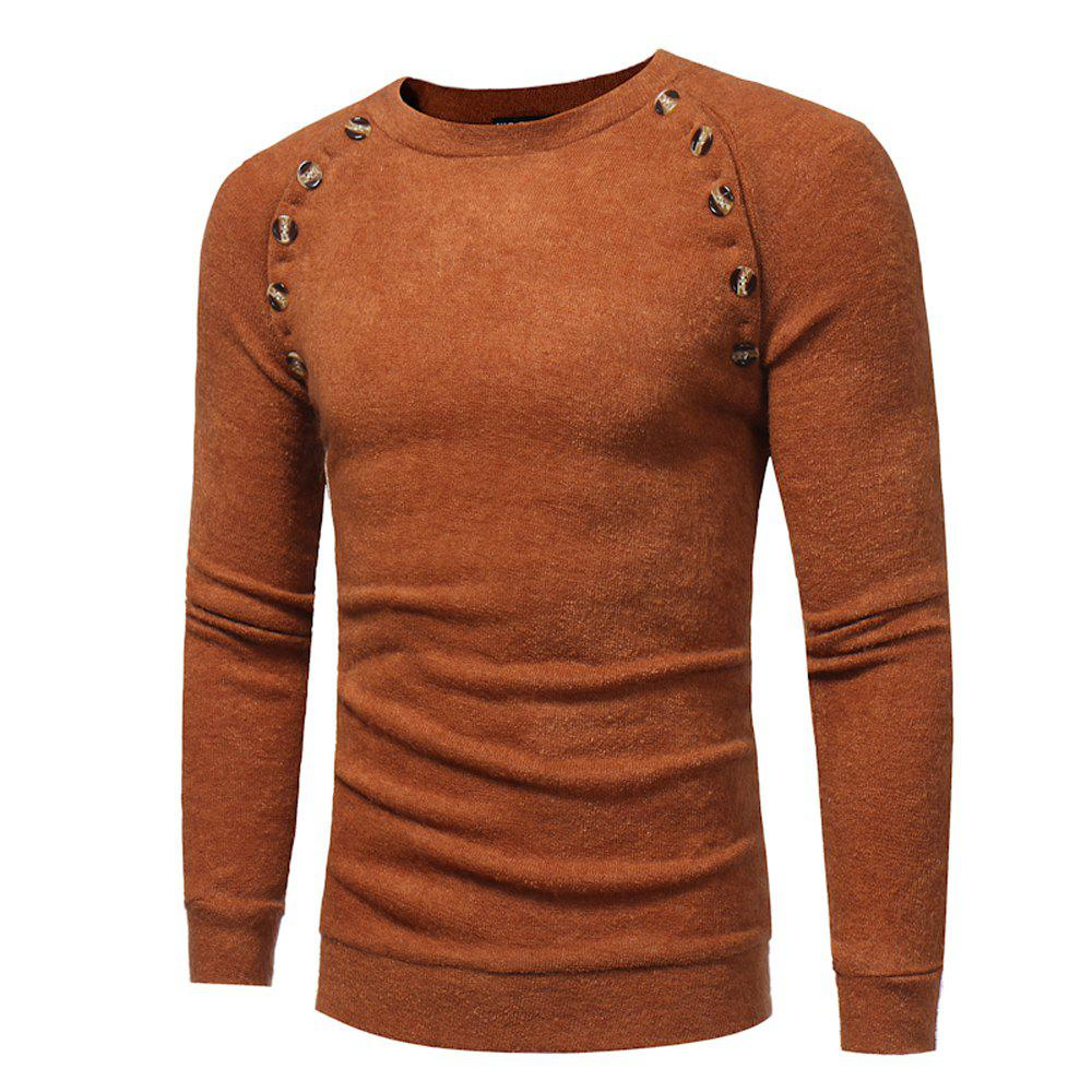 Cheap Men's New Fashion Button Stitching Solid Color Long-sleeved Knit Sweater