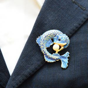 Blue Fish Brooch for Women Man Simulated-pearl Pin Party Accessory Corsage -