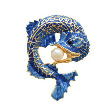 Shops Blue Fish Brooch for Women Man Simulated-pearl Pin Party Accessory Corsage