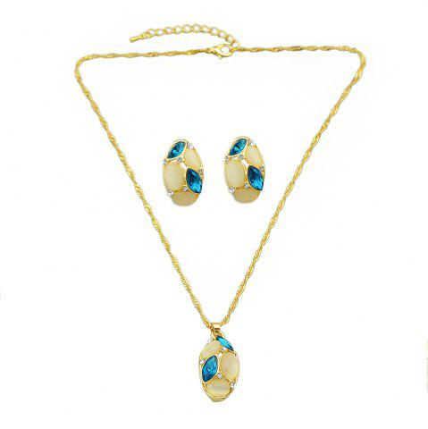 Affordable Opal Colorful Crystal Water Drop Pendant Necklace Earrings