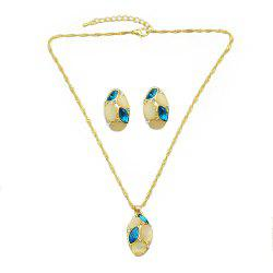 Opal Colorful Crystal Water Drop Pendant Necklace Earrings -