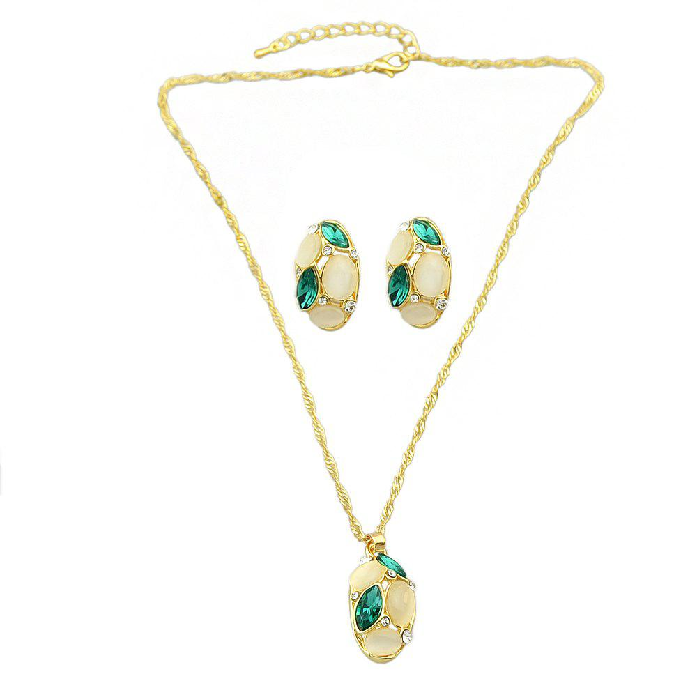 Discount Opal Colorful Crystal Water Drop Pendant Necklace Earrings