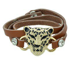 Wristband Animal Head Leopard Charm Bracelets -