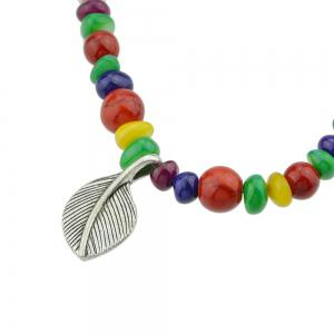 Bohemian Colorful Beads with Metal Leaf Bracelet -