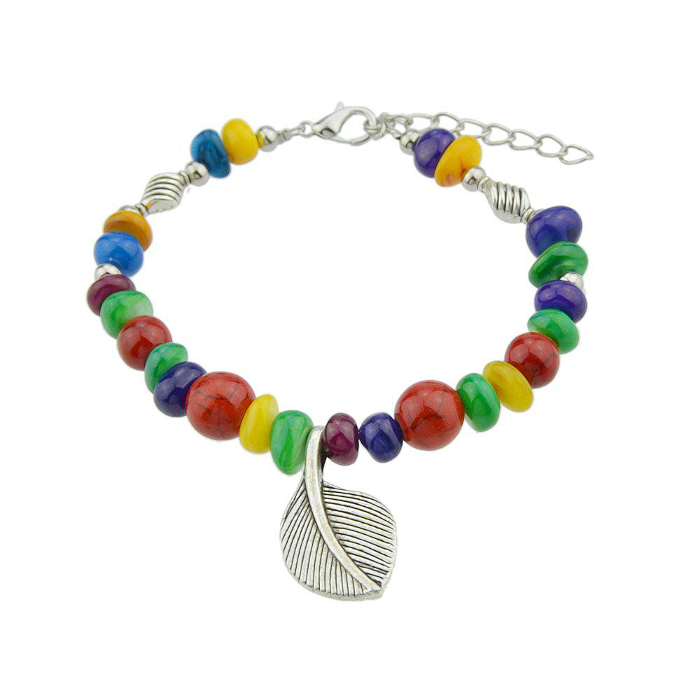 Fancy Bohemian Colorful Beads with Metal Leaf Bracelet