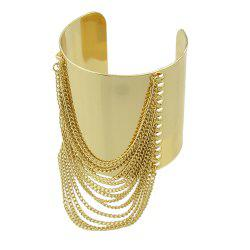 Gold-color Big Cuff Bracelet with Wide Chain Tassel -