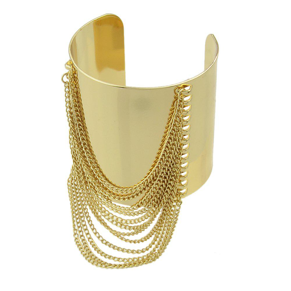 Trendy Gold-color Big Cuff Bracelet with Wide Chain Tassel